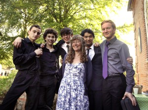 Dawn Wakefield pictured with BBC Young Musician 2014 pianist Martin James Bartlett and friends following a concert she organised in July, 2014, as part of a Fakenham Classic Music concert series